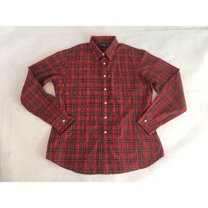 Ralph Lauren 12 Women's Red Christmas Plaid Shirt